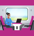 woman train passenger listening audio book with vector image