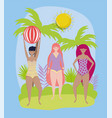 women hello summer holiday design vector image