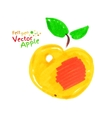 Yellow apple with leaves vector image