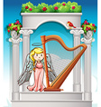 Angel playing harp in garden vector image vector image