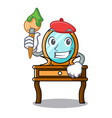 artist dressing table character cartoon vector image