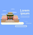 asian temple landscape traditional pagoda building vector image