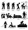 back pain backache pictograph a set human vector image vector image