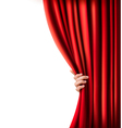 Background with red velvet curtain and hand vector