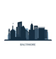 baltimore skyline monochrome silhouette vector image vector image