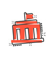 Bank building icon in comic style government