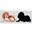 beagle dog and its silhouette vector image
