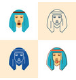 bedouin man icon set in flat and line style vector image vector image