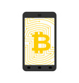 bitcoin in phone crypto currency and device vector image vector image