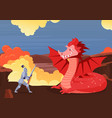 brave knight fighting dragon fairy tale scenery vector image
