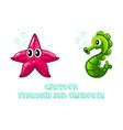 cartoon colorful seahorse and starfish vector image
