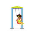 cartoon little black girl riding on swing and vector image vector image