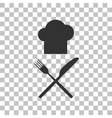 Chef with knife and fork sign Dark gray icon on vector image vector image
