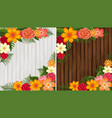 colorful flowers on wooden background in white vector image vector image
