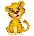 cute baby tiger sitting vector image vector image
