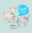 cute dog eating food with hand drawn vector image
