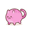 cute pink cat cartoon comic character with smiling vector image