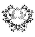 doves with flourishes and heart vector image vector image