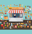 fast food with stall flat vector image
