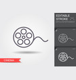 film reel line icon with editable stroke vector image