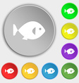fish icon sign Symbol on eight flat buttons vector image