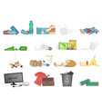 garbage and waste realistic icons set vector image
