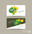 green business card design with isometric cube vector image vector image
