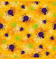 halloween spider seamless pattern on orange vector image vector image