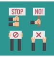 Hands holding No Stop Cross Forbid protest vector image vector image