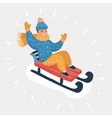happy child sledding vector image vector image