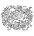 hipster hand drawn cartoon doodles vector image