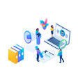 isometric hr manager we hire employees landing vector image