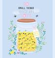 jar of lemon jam with cute kawaii berries vector image vector image