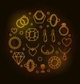 jewelry round golden line vector image vector image