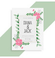 lovely floral wedding card invitation design vector image vector image