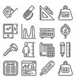 Measuring tools and scale unit icons set