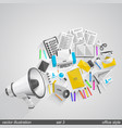 megaphone office style set 3 vector image