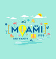 miami florida design of attractions icons vector image
