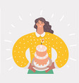 mother holding first birthday cake with one candle vector image vector image