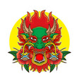 printold school tattoo dragon head vector image vector image