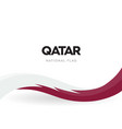 qatar flag wavy ribbon with colors qatar vector image