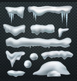 realistic snow caps snowball snowdrift and vector image