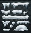 realistic snow caps snowball snowdrift vector image