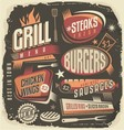 Retro grill menu design template vector image