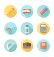 school supplies flat round icons with long shadow vector image