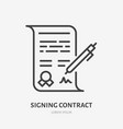 signing contract flat line icon signature sign vector image vector image