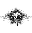 skull in headphones sunglasses and patterns vector image vector image