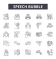 speech bubble line icons signs set vector image vector image