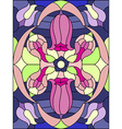 Stained glass window Floral pattern Composition of vector image vector image