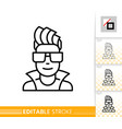 teenager avatar dj male guy face line icon vector image